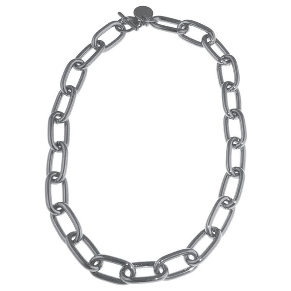Isla Simone - Fine Silver Electroplated Necklace With Oval Interlocking Links 21329128