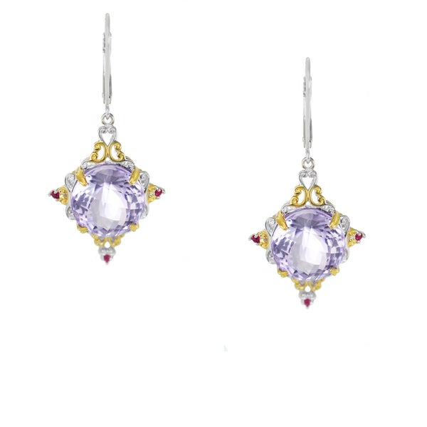 One-of-a-kind Michael Valitutti Check Top Pink Amethyst with Hot Pink Sapphire Leverback Earrings