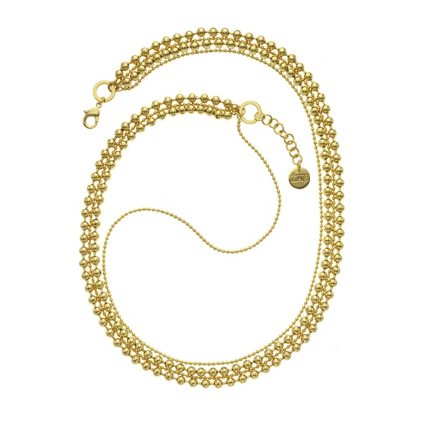 Isla Simone - 18 Karat Gold Electro Plated Four Strand Small/Large Ball Chain Necklace