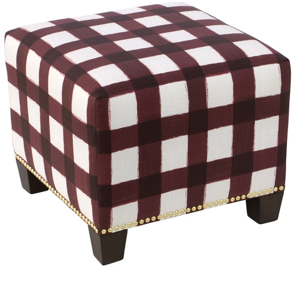 Skyline Furniture Buffalo Square Holiday Red Oga Nail-button Ottoman