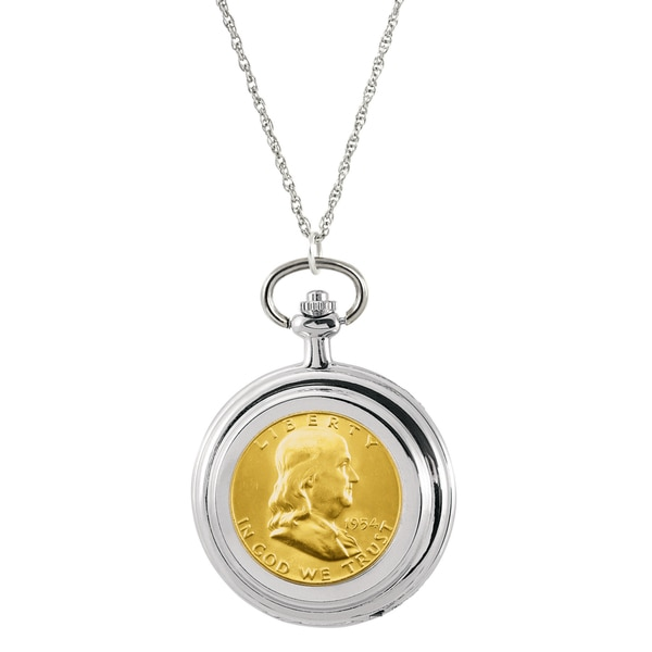 American Coin Treasures Gold-layered Silver Franklin Half Dollar Pocket Watch Pendant Necklace