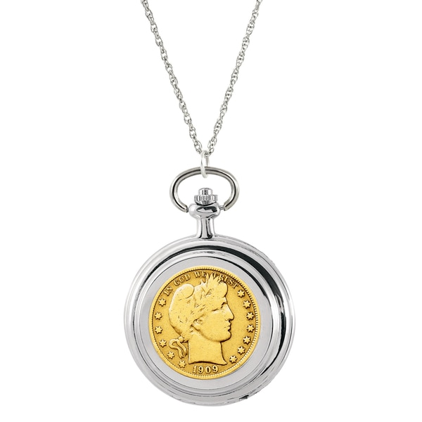 American Coin Treasures 24K Gold-plated Silver Barber Half Dollar Pocket Watch Pendant Necklace