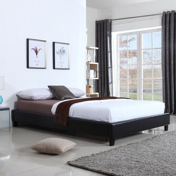 Hadwen Black Faux Leather Full/Queen Bed Frame