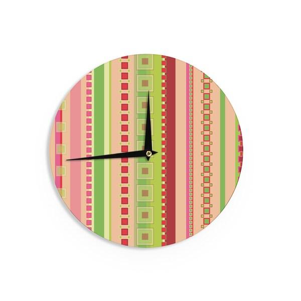 KESS InHouseAllison Soupcoff 'Tart' Red Teal Wall Clock