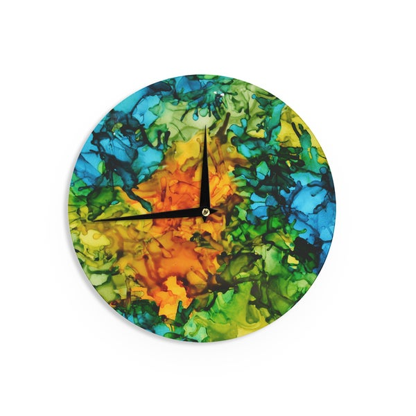 KESS InHouseClaire Day 'Lowry' Green Blue Wall Clock