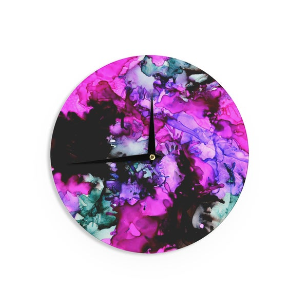 KESS InHouseClaire Day 'Siren' Pink PurpleWall Clock
