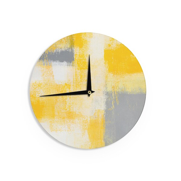 KESS InHouseCarolLynn Tice 'Breakfast' Grey Gold Wall Clock
