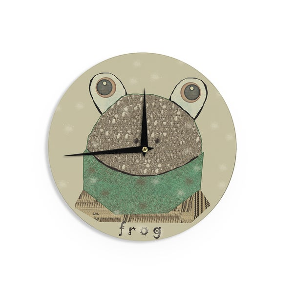 KESS InHouseBri Buckley 'Frog' Tan Green Wall Clock