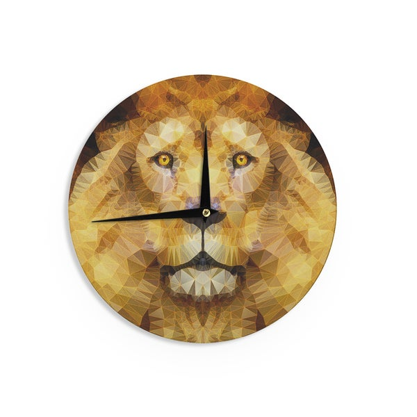 KESS InHouseAncello 'Lion King' Yellow Brown Wall Clock