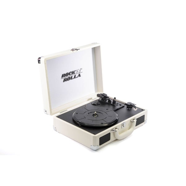 Rock 'N' Rolla Jr. White Portable Briefcase Vinyl Turntable Record Player