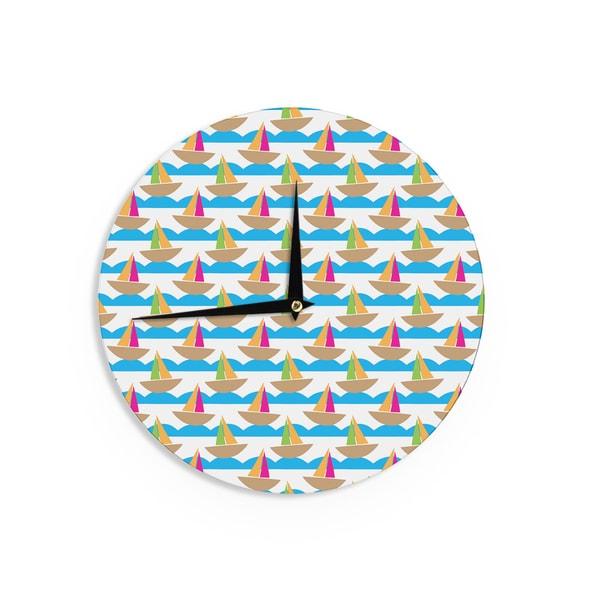 KESS InHouseApple Kaur Designs 'Beside the Seaside' Boats Wall Clock
