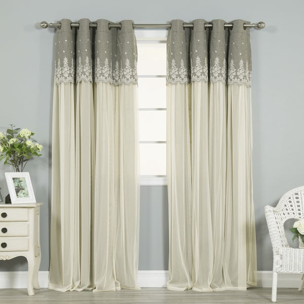 Aurora Home Grace Lace-overlay Grommet-top Curtain Panel Pair