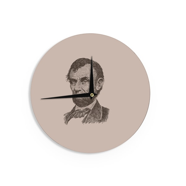 KESS InHouseBarmalisiRTB 'Abraham Lincoln' Brown Vintage Wall Clock