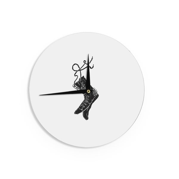 KESS InHouseBarmalisiRTB 'Damaged' Black White Wall Clock