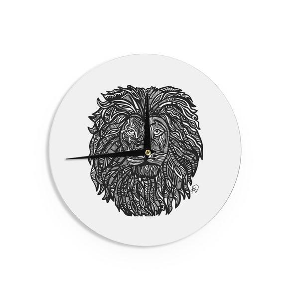 KESS InHouseAdriana De Leon 'The Leon' Lion Illustration Wall Clock