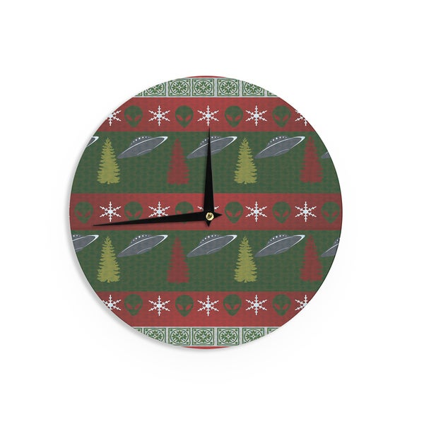 KESS InHouseAlias 'Xmas Files' Green Red Wall Clock