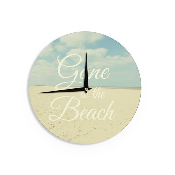KESS InHouseAlison Coxon 'Gone To The Beach' Tan Blue Wall Clock