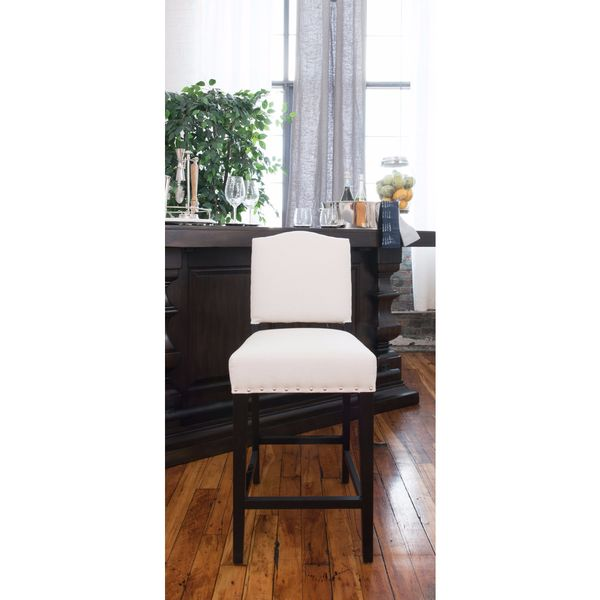 Elements Fine Home Furnishings Brooke Cream Faux Leather/Wood Counter-height Bar Stool