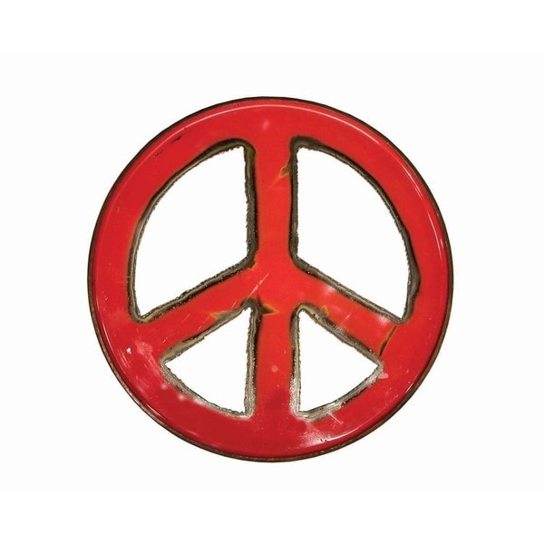 Handmade WA-0266-RE Ruby Groovy Barrel Art Peace Sign (Thailand) 21332716