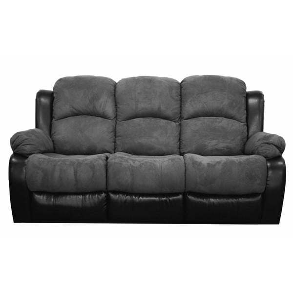 Traditional Brush Microfiber Reclining Sofa in Grey