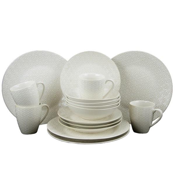 Elama Ivory Terrace Ivory Stoneware 16-piece Textured Dinnerware Set