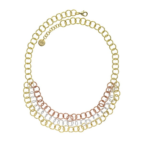 Isla Simone - 18 Karat Gold, Rose Gold, And Fine Silver Plated Triple Strand Textured Round Link Necklace 21333070