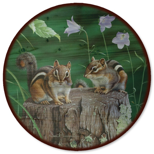WGI Gallery Chipmunks Wood Lazy Susan