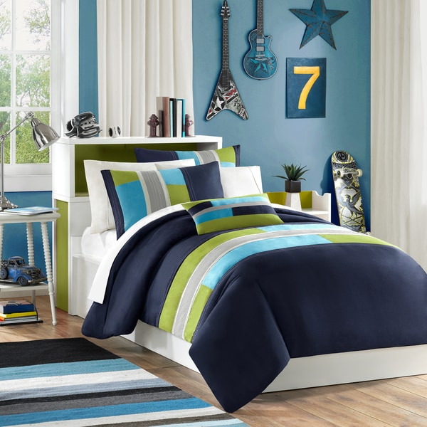 Mi Zone Switch Navy Printed Duvet Cover Set