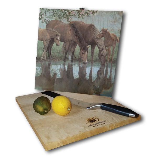 WGI Gallery Sweet Spring Horses White Birch Plywood Cutting Board