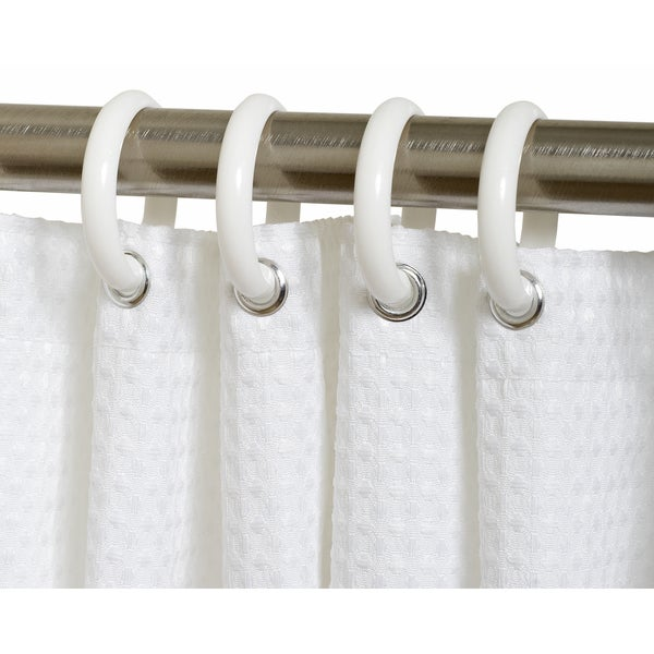 Zenna Home SSR01WW White Shower Curtain Rings 12 Count