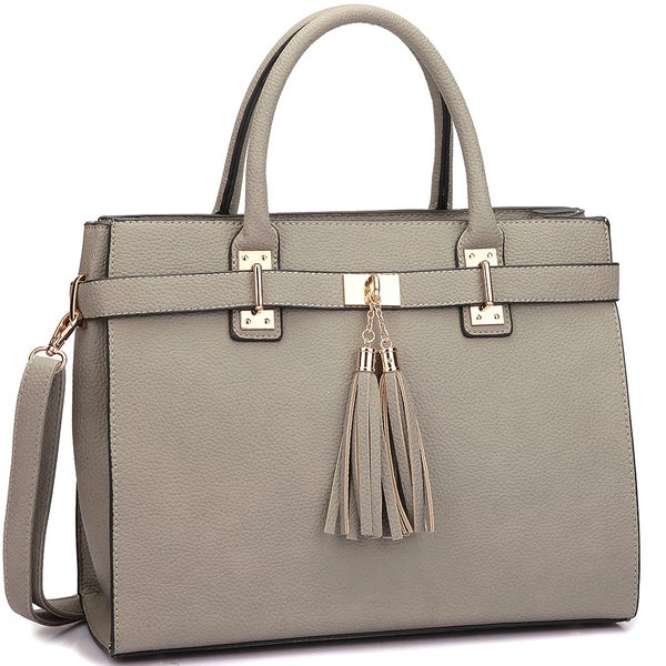 Dasein Faux Leather Double Tassel Satchel with Shoulder Strap 21333580