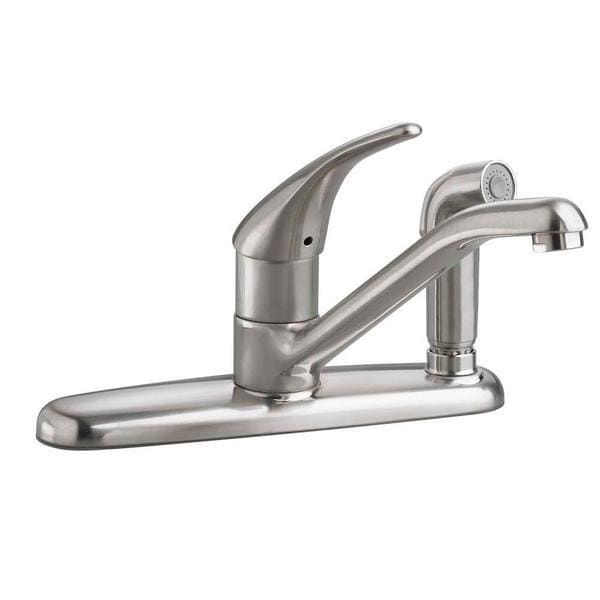 American Standard Colony Soft Single-Handle Standard Kitchen Faucet with Escutcheon Fixed Side Sprayer in Stainless Steel
