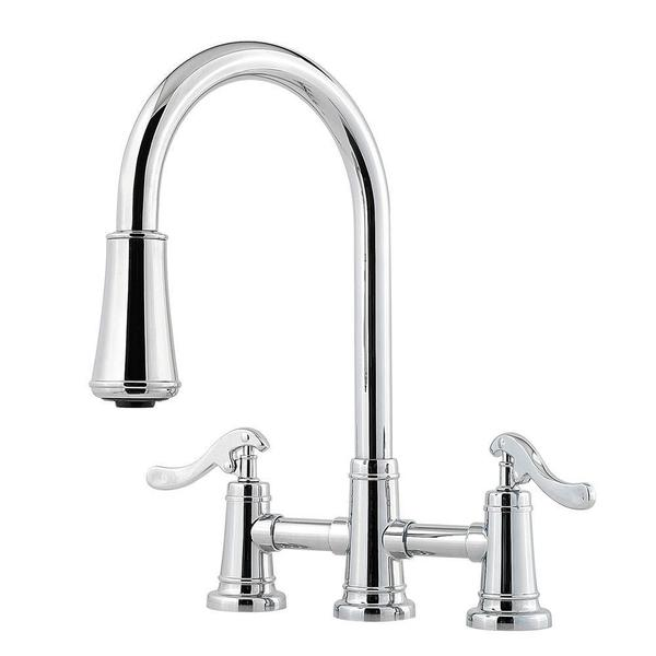 Pfister Ashfield 2-Handle Pull-Down Sprayer Kitchen Faucet with Bridge in Polished Chrome