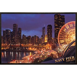 Chicago Navy Pier Print with Walnut Architect Picture Frame