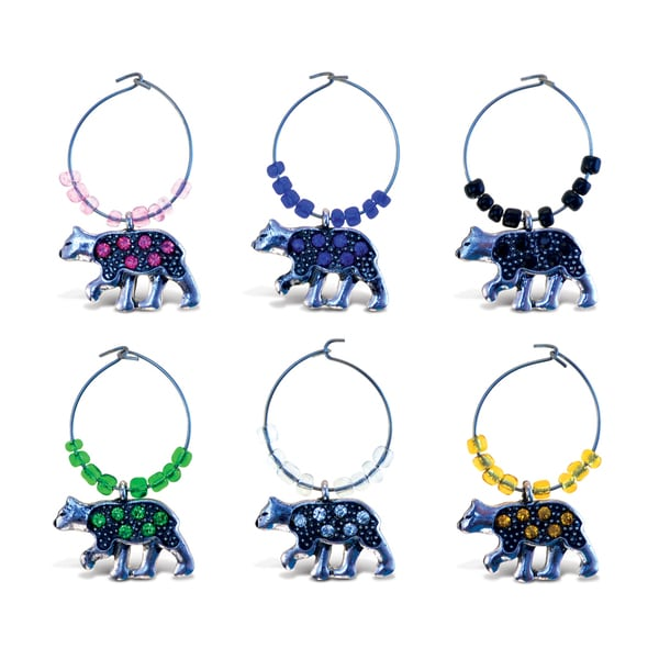 Puzzled Inc. Cheers Metal/Rhinestone Black Bear Wine Charms (Pack of 6) 21334375