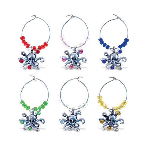 Puzzled Inc. Cheers Metal/Rhinestone Octopus Wine Charms (Pack of 6) 21334491