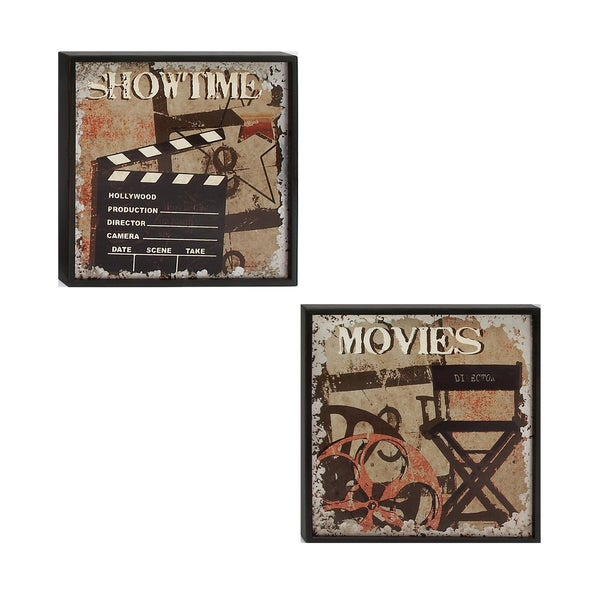 Urban Designs 'Movies' and 'Showtime' Wood Framed Wall Art (Set of 2)