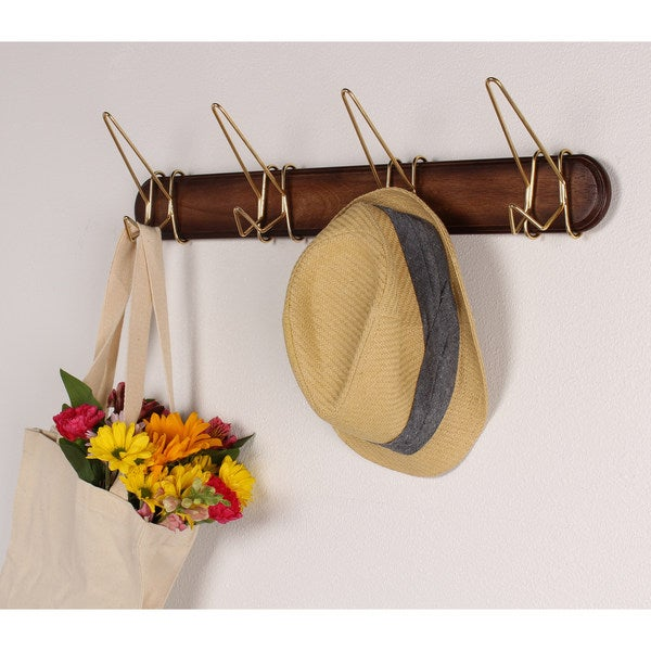 Johan Wood Coat Hook Rack with 4 Gold Metal Hooks