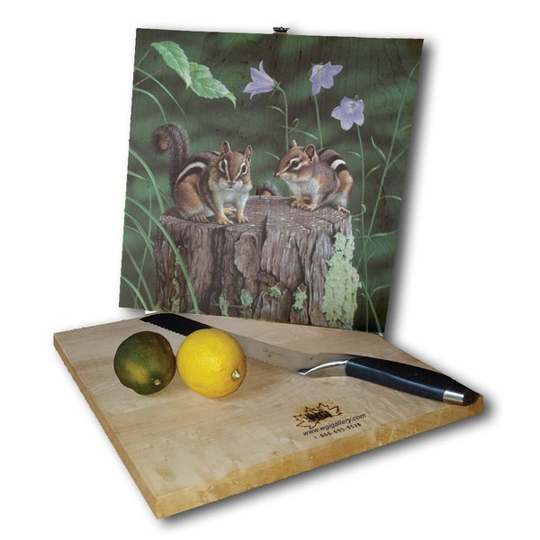 WGI Gallery Chipmunks Wood Cutting Board