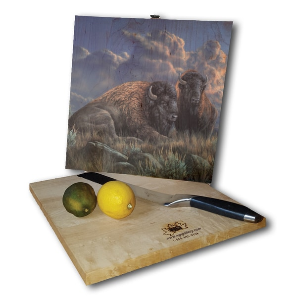 WGI Gallery Distant Thunder Bison Wood Square Cutting Board
