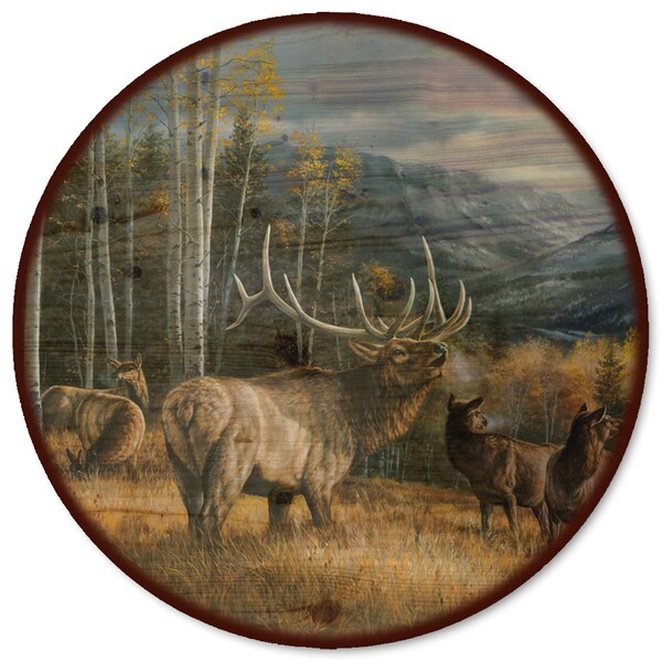 WGI Gallery 'Meadow Music Elk' Wood Lazy Susan