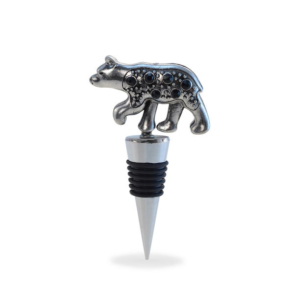 Cheers Metal Black Bear Wine Stopper