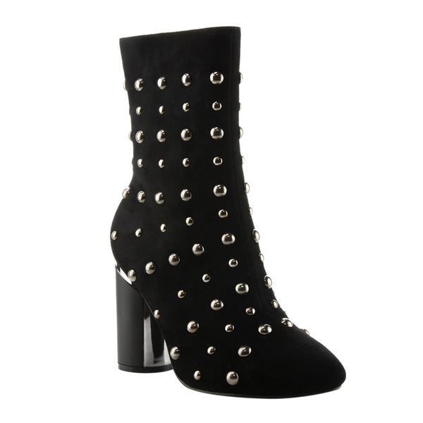 Cape Robbin FE86 Women's Nude/Black/Navy Faux Suede Studded Mid-calf Block Round-heel Boots