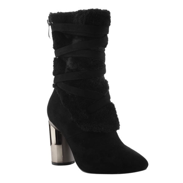Cape Robbin FE87 Women's Strappy Mid-calf Block Round Heel Boots