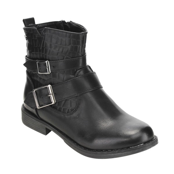 Jacobies Women's GE45 Dual Buckle Low-heel Motorcycle Ankle Booties 21338790