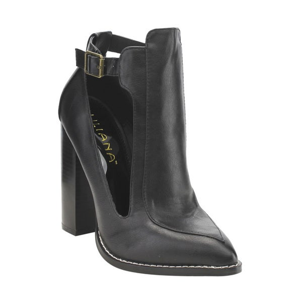 Liliana GE35 Women's Stacked High Heel Side Cutouts Buckle Strap Ankle Booties