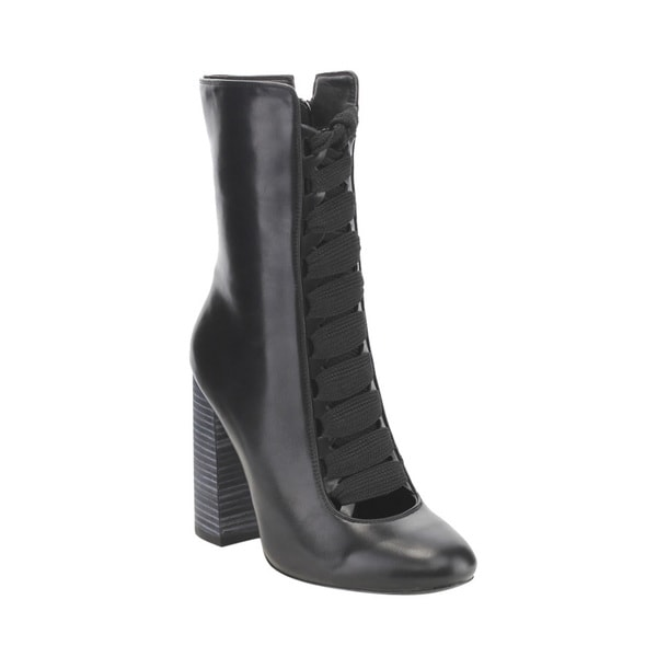Jacobies Women's Black Faux-leather Chunky Heel Zip-up Mid-calf Boots