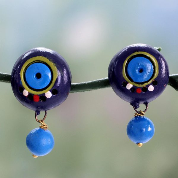 Handcrafted Ceramic 'Indigo Harmony' Earrings (India) 21346983