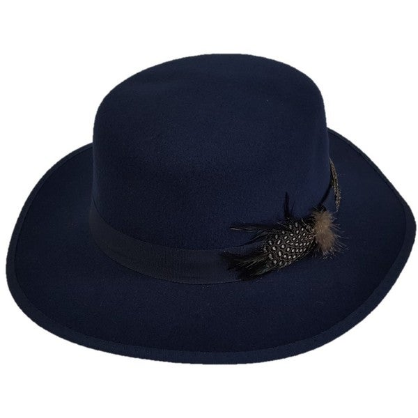 Swan Hat Cashmere Navy Blue Felt Boater Hat