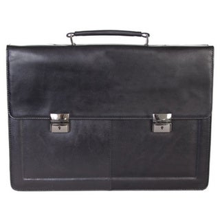 Scully Black Leather Flap-over 17-inch Laptop Briefcase